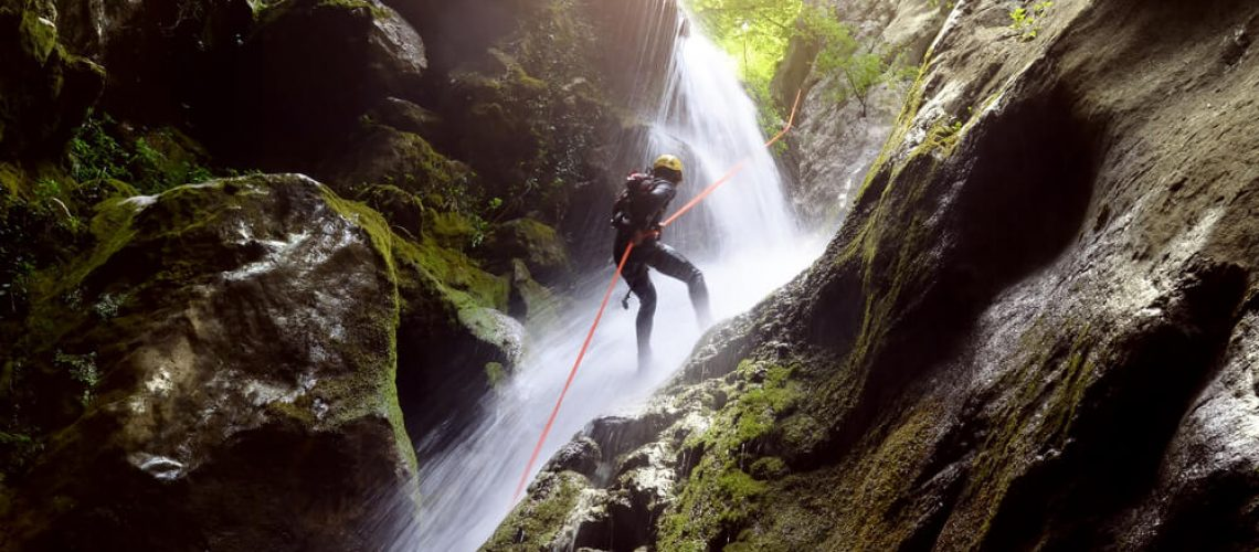 Picture of person canyoning in Costa Rica.