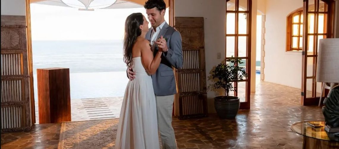 A photo of a couple dancing at their Costa Rica wedding.